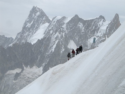 Mountaineers ascending almost at Aiguille du Midi.