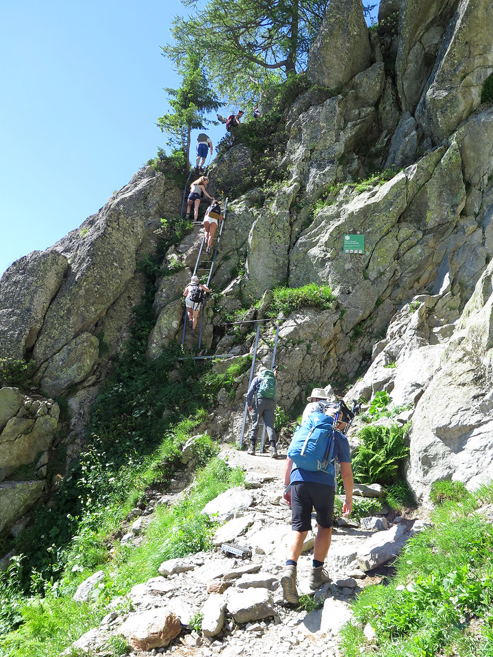 More adrenaline junkies about to tackle the ladders above Argentière