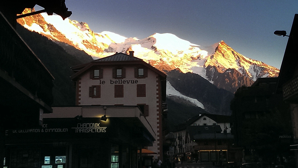 Chamonix and the view of Mont Blanc from the high street