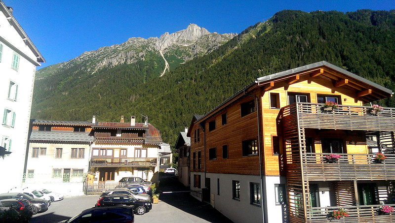Back to Chamonix and the view from the hotel room window - Brévent is visible up on the mountain top