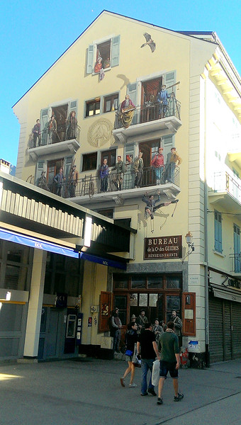 A clever trompe l'oeil painting on the gable end of a Chamonix shop.   Even the balconies are painted!