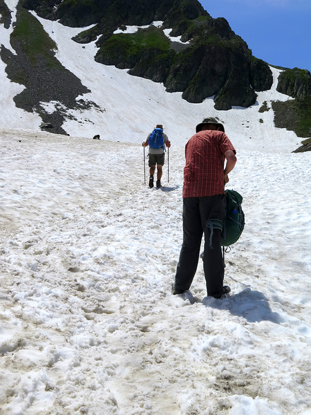 Our fist encounter with snow on the path up towards the Col du Bonhomme