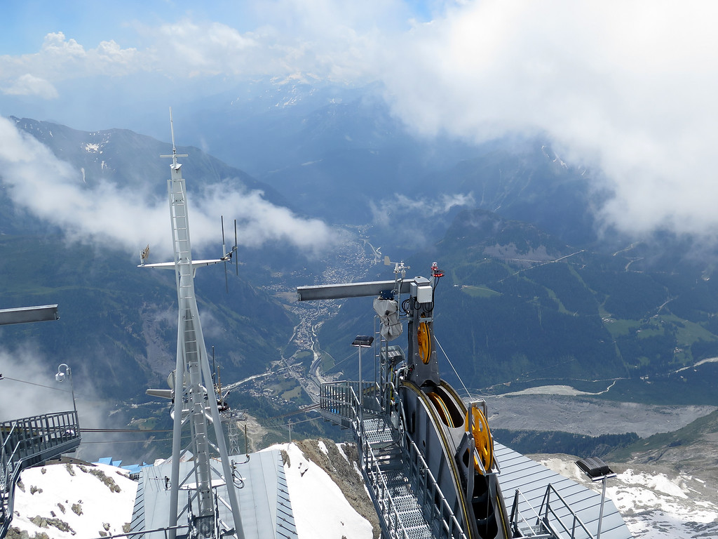 The Mont Blanc tunnel portal can be seen just below the centre of the picture as it disappears into the montain