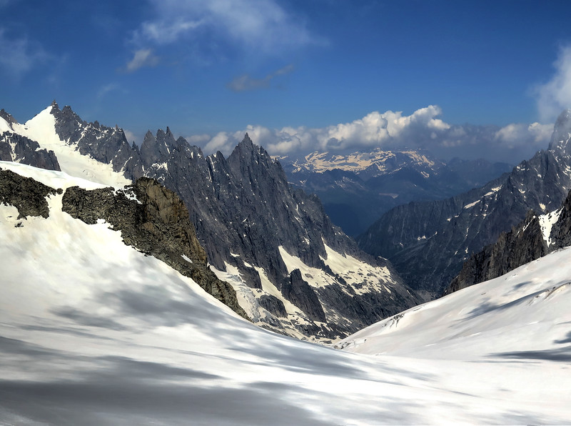 The view from Helbronner towards the Aiguille du Midi above Chamonix