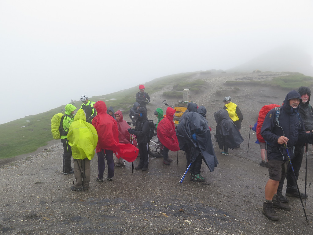 Just look at those wonderful views from the Grand Col Ferret (2537m).   It was damp, miserable and as cold as we look