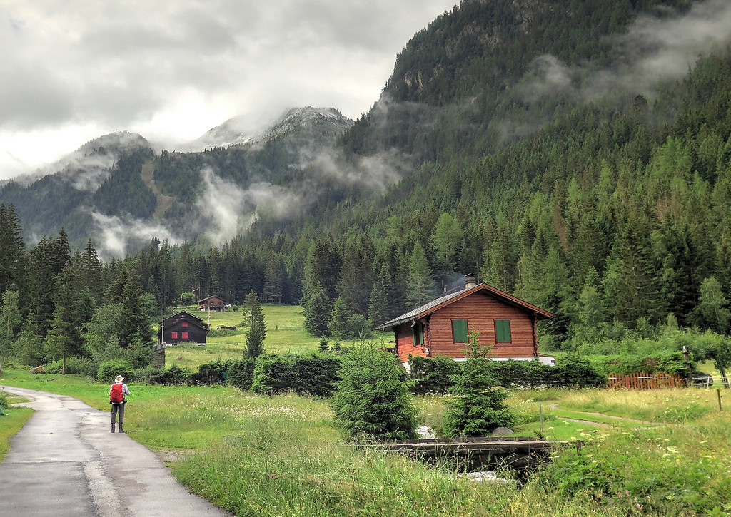 Chalets line the attractive road through the valley