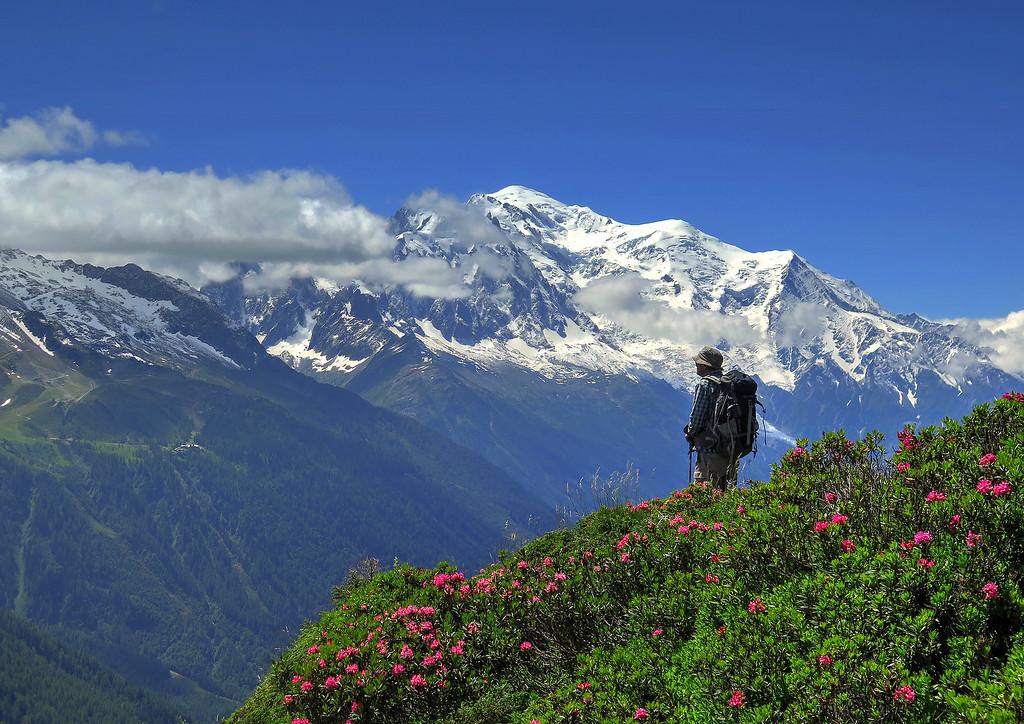 Young John gazing across to the Mont Blanc range