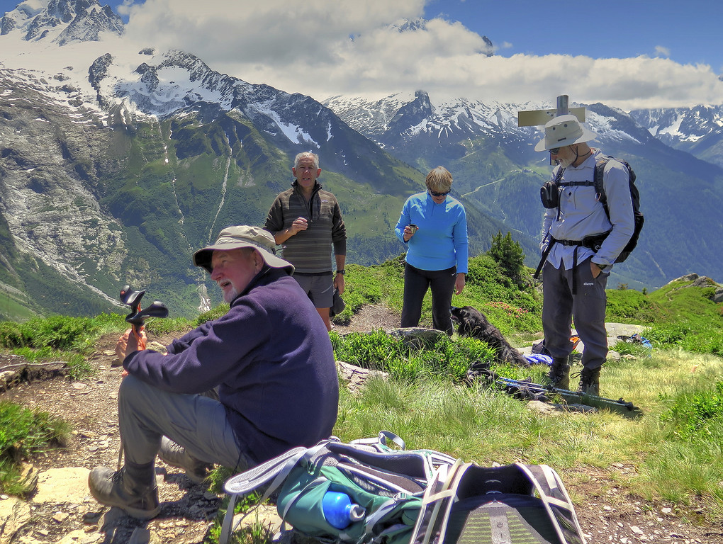 Here we stopped for a drink while John and Mike F climbed up to the top of the ridge at Aiguillette des Posettes (2201m), while nearby  the rest of us chatted to this charming Irish couple who live in Chamonix
