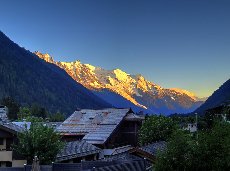 An evening view of Mont Blanc from the balcony of our posh hotel in Argentière