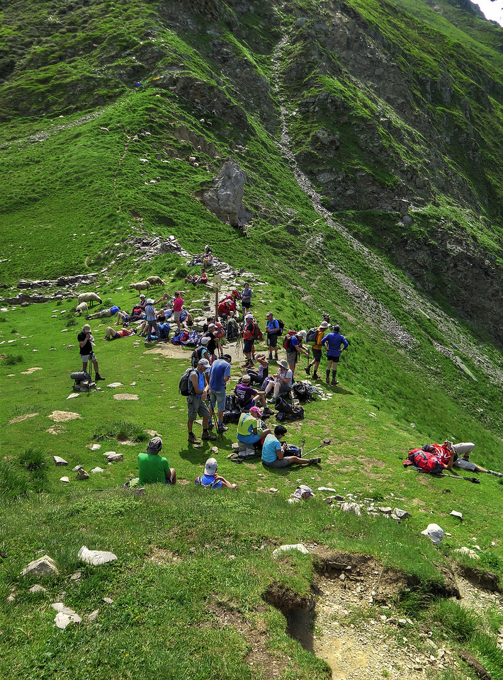 In the glorious weather there was a carnival atmosphere at the 2120m Col de Tricot
