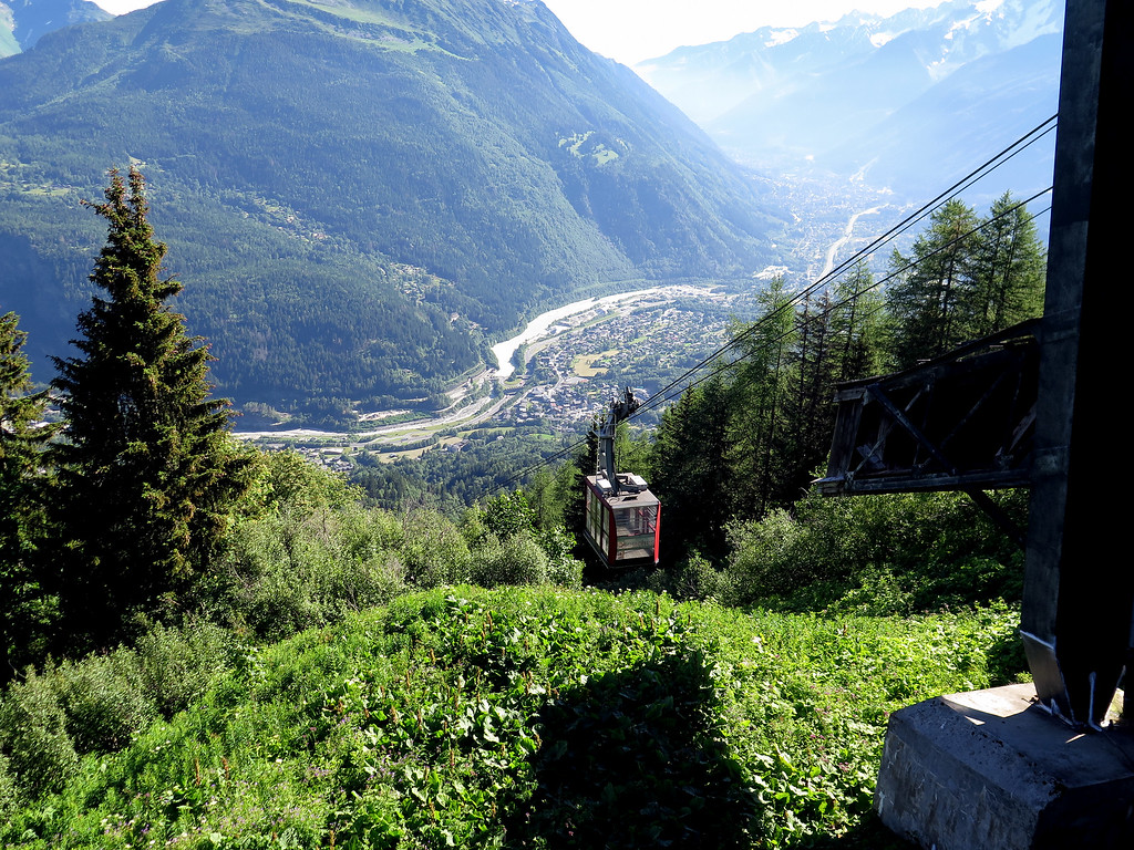 A look back down to Les Houches and beyond lies Chamonix