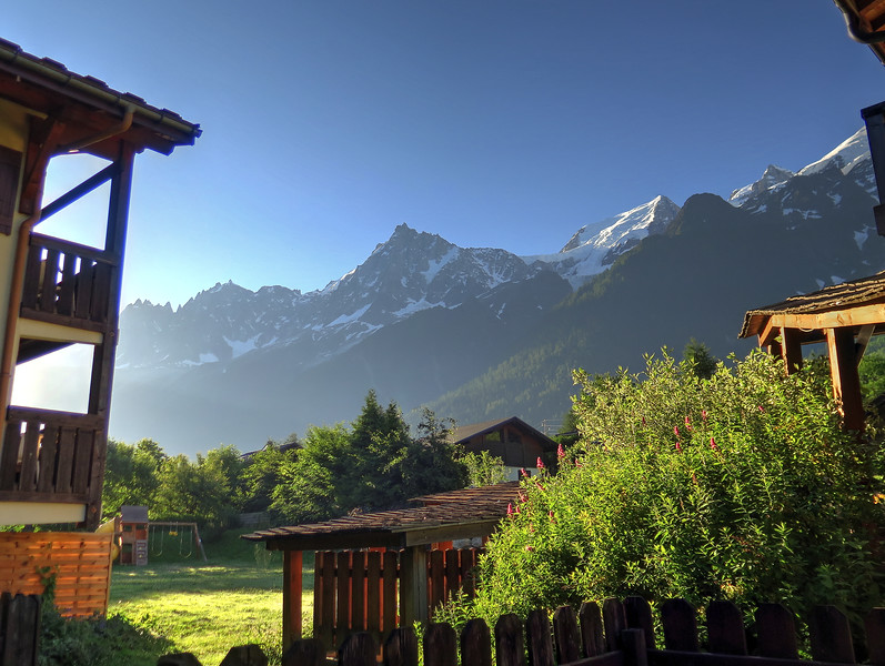 The morning view from the hotel bedroom in Les Houches on the first day of our adventure