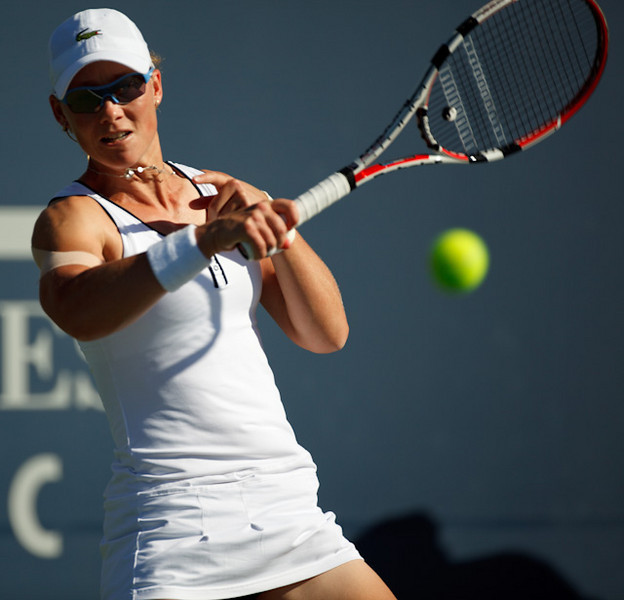 Top-seeded Samantha Stosur at the 2010 Bank of the West tennis tournament.