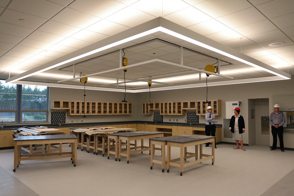 . One of the new science rooms at the new North Middlesex Regional High School building in Townsend on Wednesday April 12, 2017. These rooms have special up lighting. SUN/JOHN LOVE