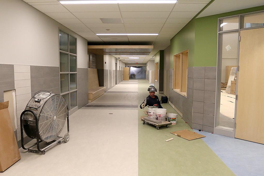 . A hallway in the new north Middlesex Regional High School Building. SUN/JOHN LOVE
