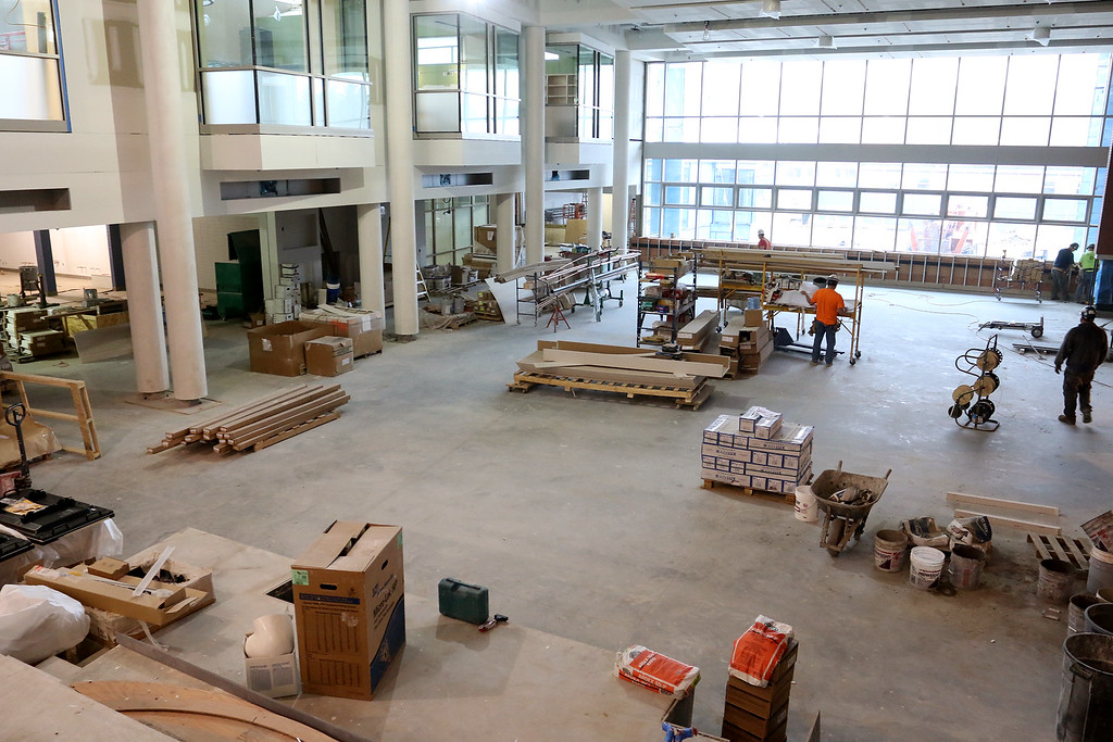 . Work was still being done to the cafeteria of the new North Middlesex Regional High School on Wednesday April 12, 2017. SUN/JOHN LOVE