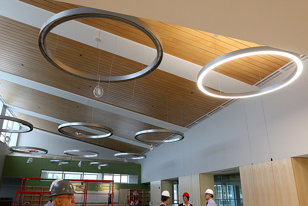 . The lights in the library of the new North Middlesex Regional High School in Townsend on April 12, 2017. SUN/JOHN LOVE
