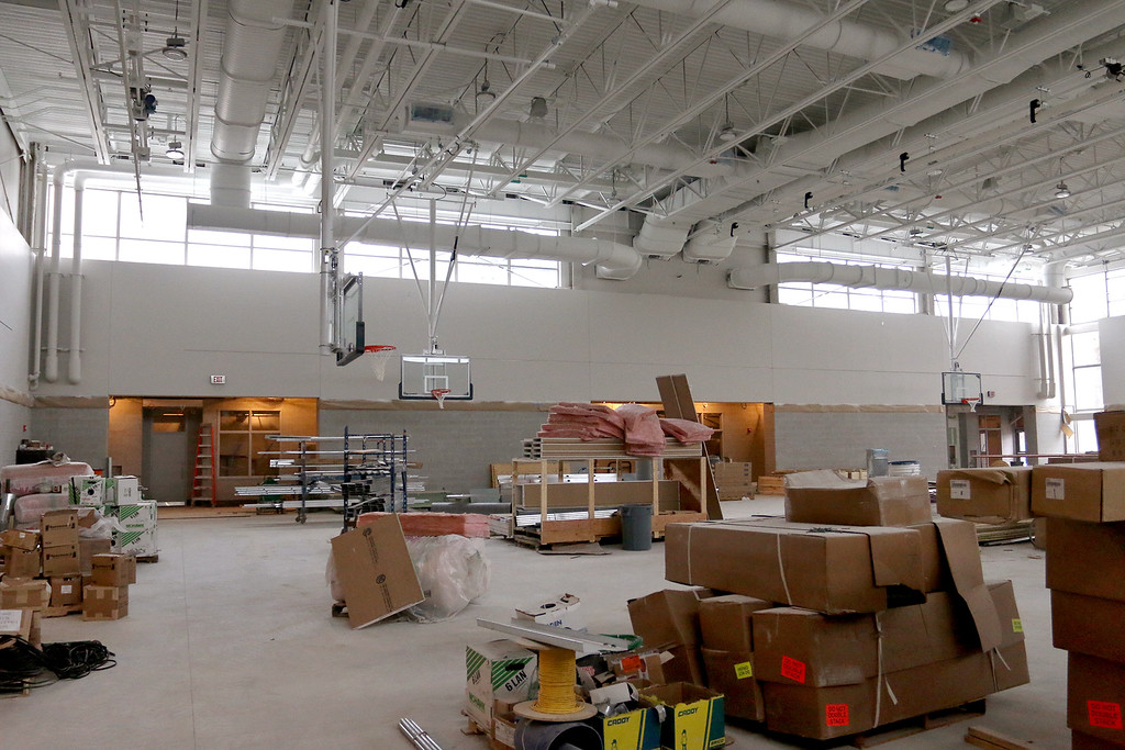 . A view of the gym at the new North Middlesex Regional High School in Townsend on Wednesday April 12, 2917. There was still a lot of work to do in this area. SUN/JOHN LOVE