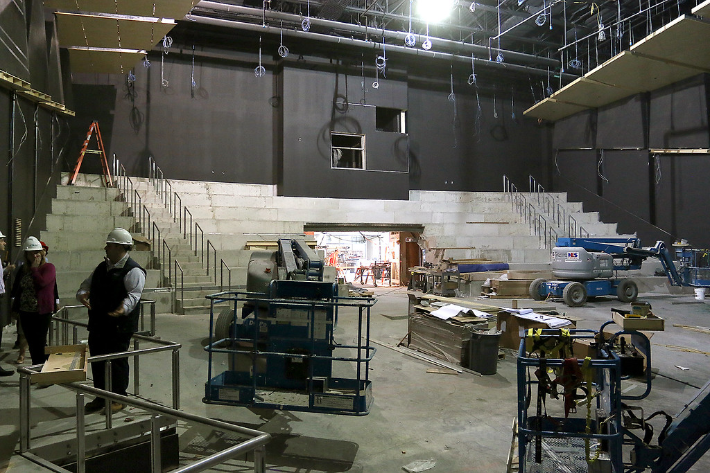 . A view from the stage as work was still being done to the auditorium at the new North Middlesex Regional High School on April 12, 2017. SUN/JOHN LOVE