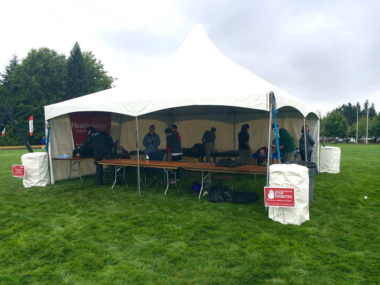 2015 Tour de Cure Oregon, Amberglen Park, Hillsboro.<br /> Massage and medical tent