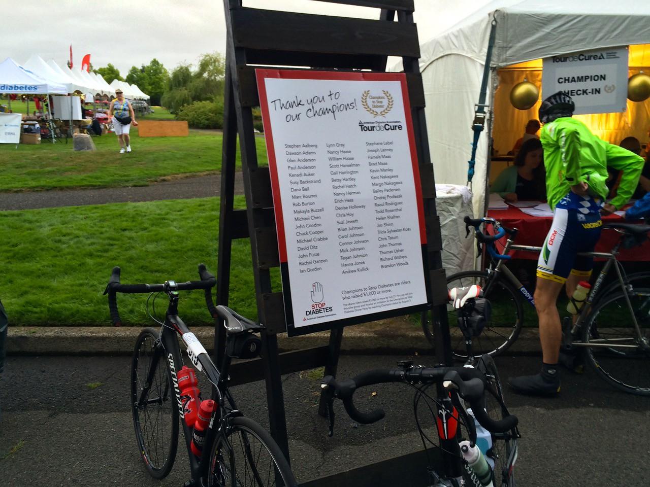 2015 Tour de Cure Oregon, Amberglen Park, Hillsboro.<br /> 2015 Champions display at Registration