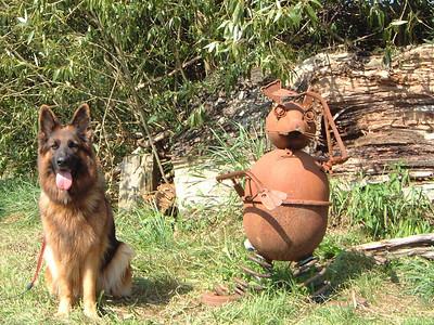 Ayla und ihr Blechmann im Wildgarten. Man beachte die ähnliche Färbung.