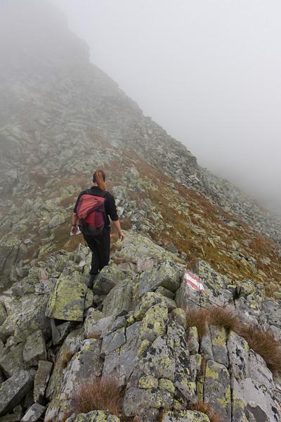 Irene am Gipfelgrat