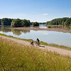 Fahrradfahrer am Hubertusdamm