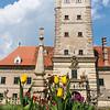 Schloss Greillenstein mit Tulpen