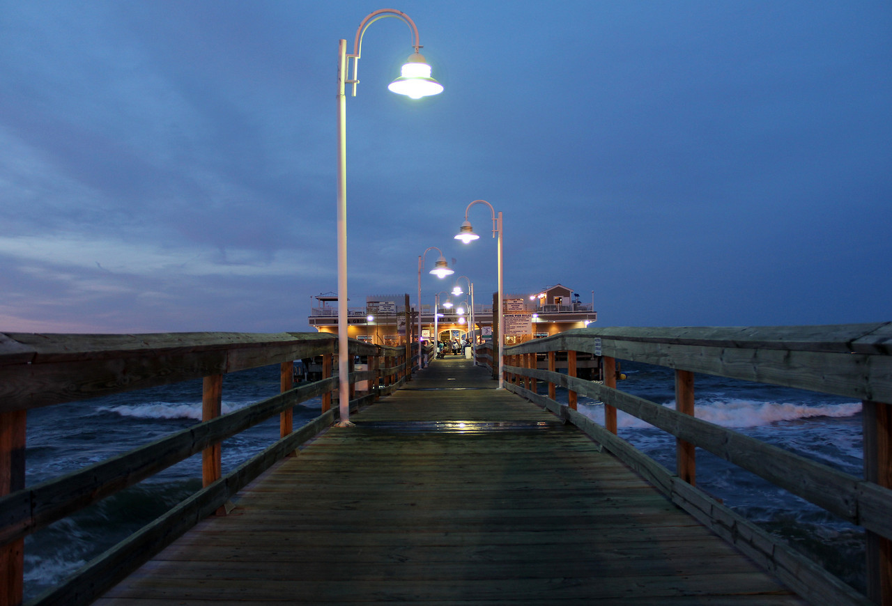 Ocean View Fishing Pier Walkup at Twilight