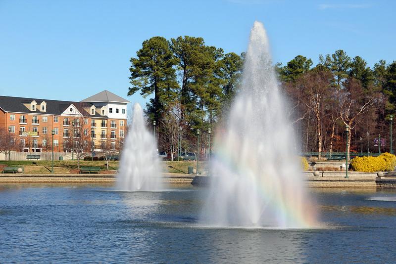 Rainbow in City Center Fountain