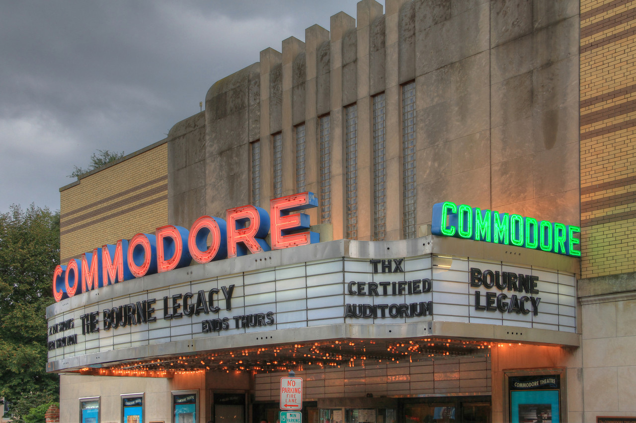 Commodore Theatre Marquee - Storm heading to Portsmouth, VA