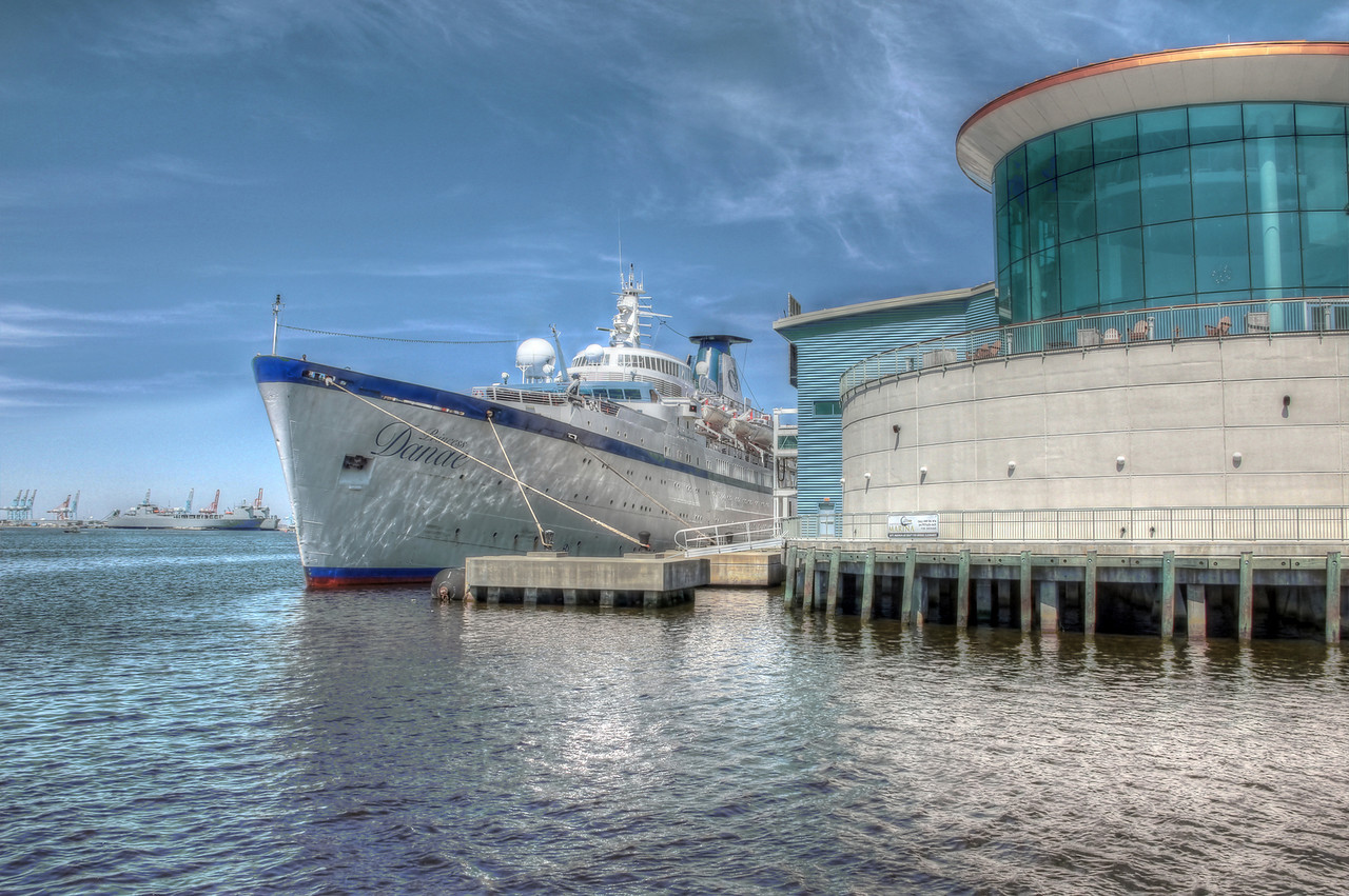 Princess Danae docked at Half Moon Cruise Terminal, Downtown Norfolk