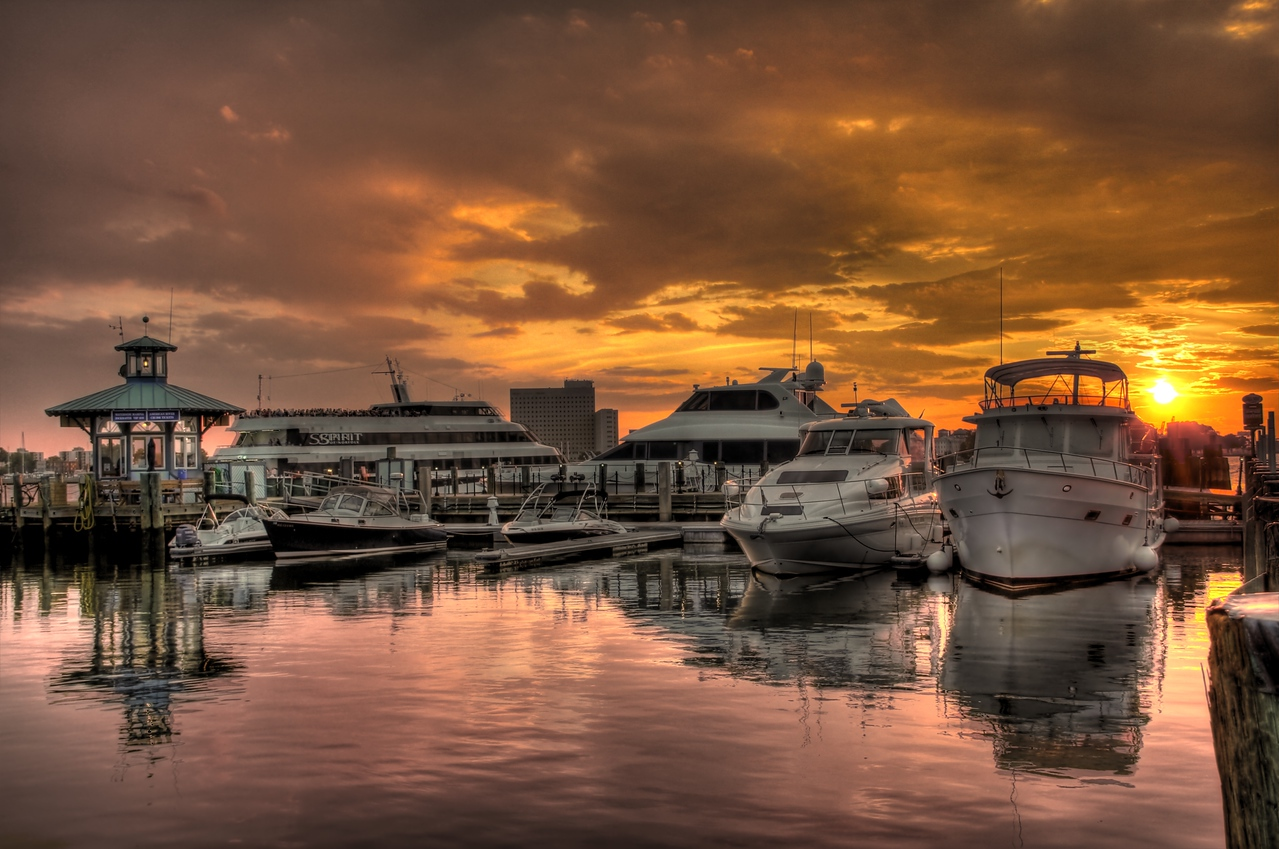Waterside Marina Dock at sunset