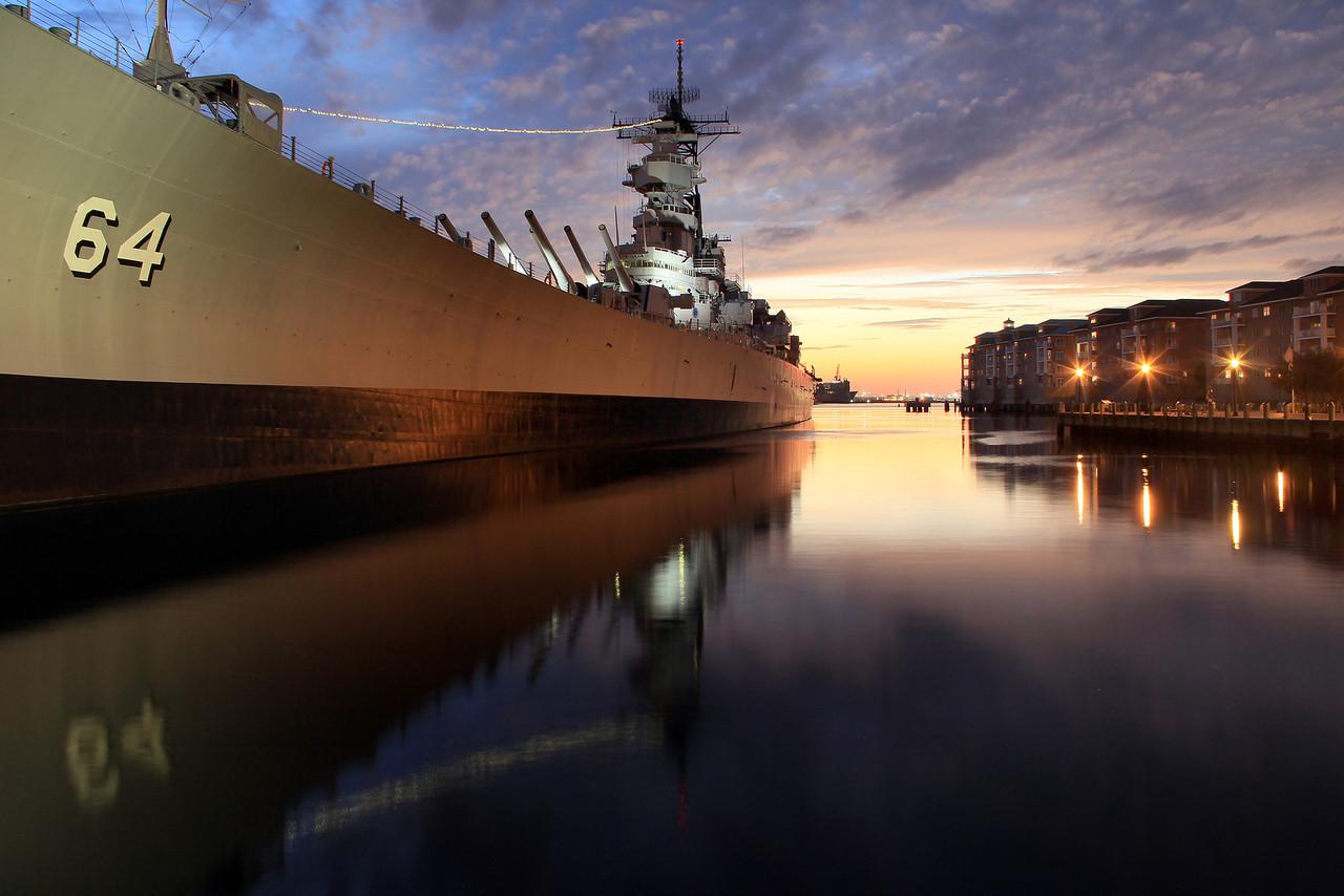 2012 Sunset Behind Battleship Wisconsin