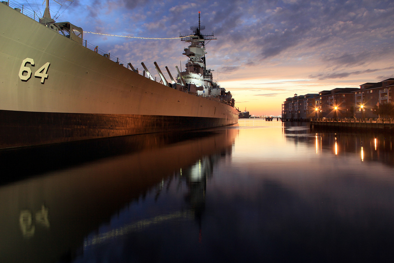 2012 Sunset Behind Battleship Wisconsin