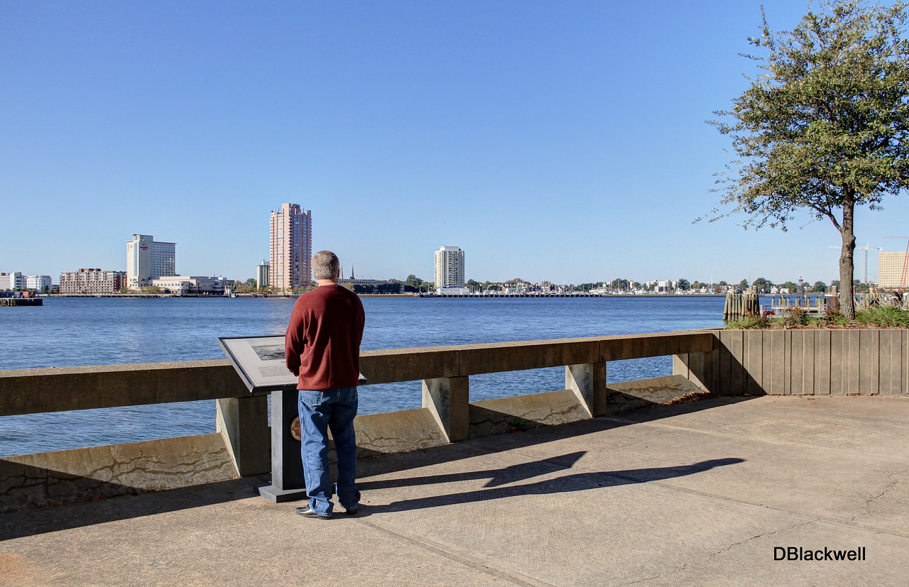 Man Viewing Elizabeth River to Portsmouth