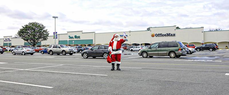 Santa Wandering at Hilltop Parking Lot