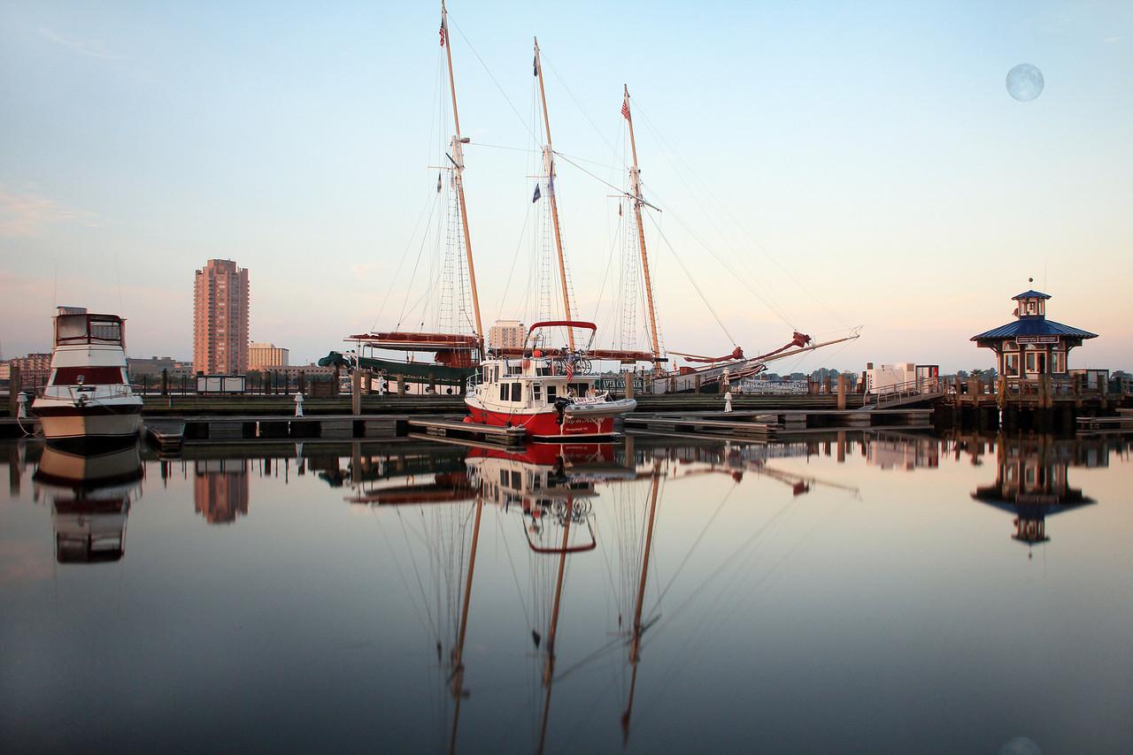 Early Morning Moon at Waterside Docks