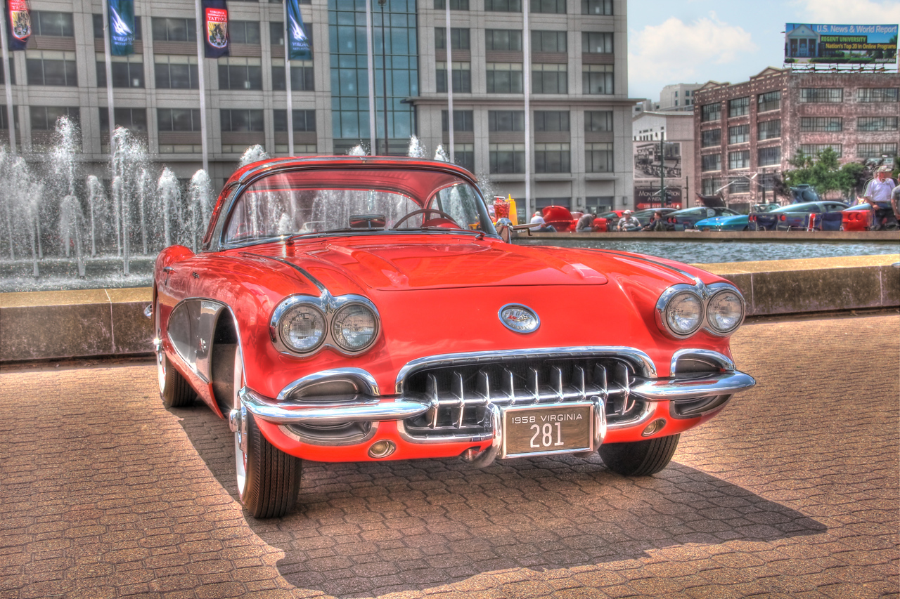 1958 Little Red Corvette: Chrylser Hall Fountain