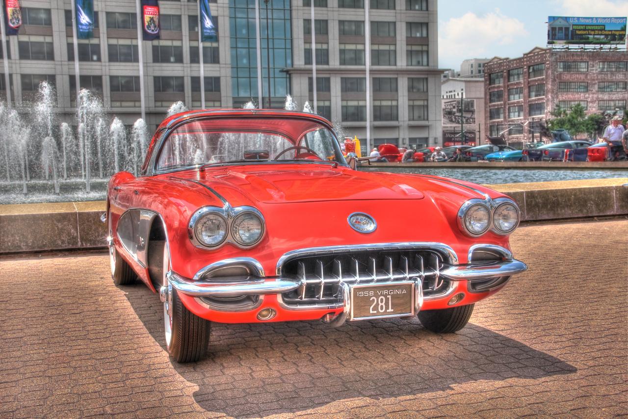 1958 Little Red Corvette: Chrylser Hall Fountain