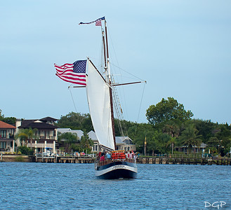 Old Glory Leading the Way as the Schooner Freedom Does an About Face