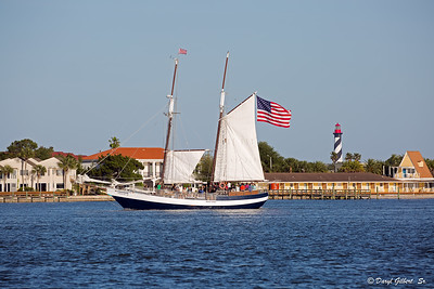 Schooner Freedom Passing By the St. Augustine Lighthouse on Anastasia Island