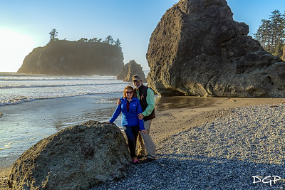 Two Happy Travelers at Ruby Beach