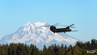 "Boeing MH-47G ""Beast"" Chinook Helicopter Passing by Mount Ranier"