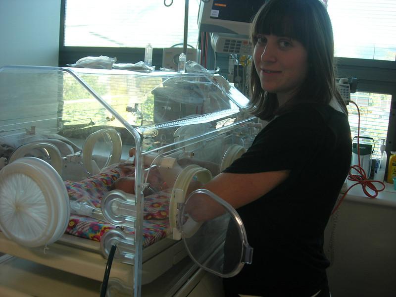 The proud mother Tiffany with tiny Dakota born to Tiffany and Nathan
