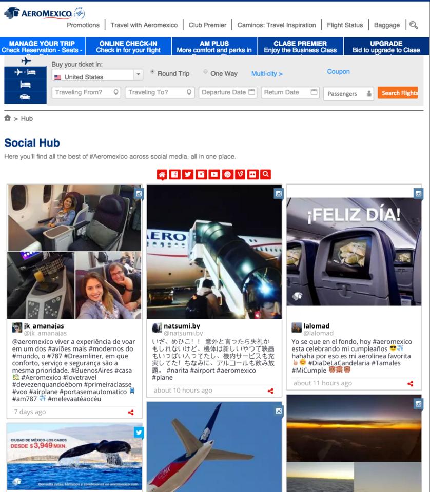 AeroMexico Travel website