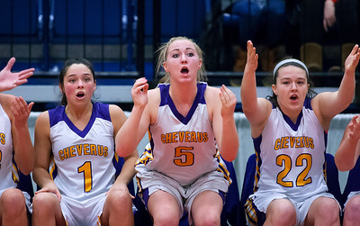 AUGUSTA, Maine -- 02/16/2017 -- Cheverus' Alayna Briggs (from left), Michaela Jordan, and Kathryn Kane react to a call during their Class AA girls basketball quarterfinal game against Bangor at Augusta Civic Center in Augusta Thursday. Ashley L. Conti | BDN