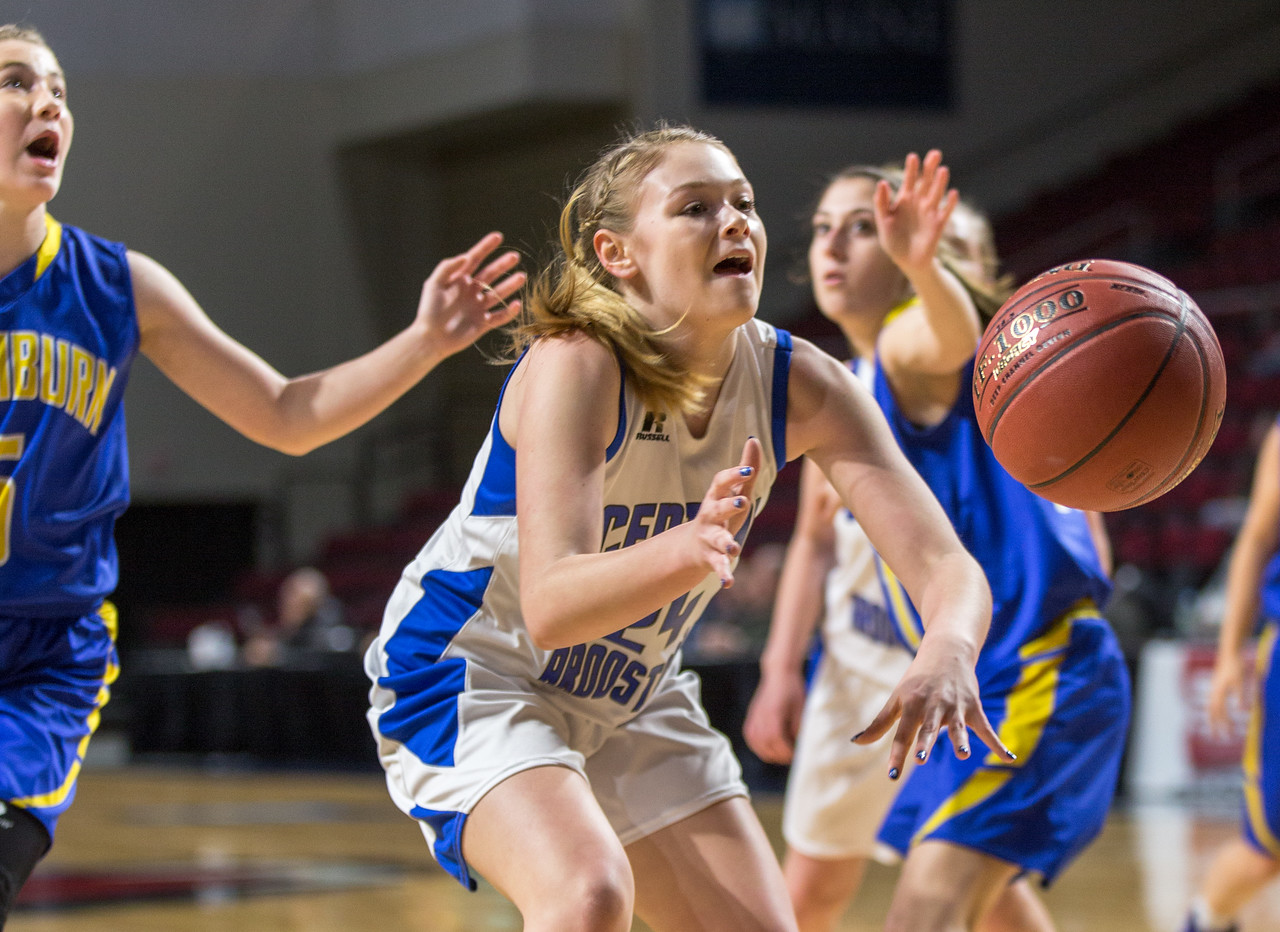 Central Aroostook's Ashlee Harris loses control of the ball during their game against Washburn at the Cross Insurance Center in Bangor on Monday morning. Micky Bedell | BDN