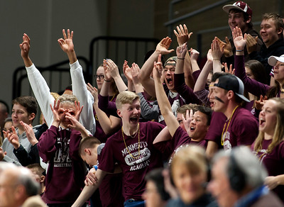 BANGOR, Maine -- 03/04/2017 -- Monmouth fans cheer after their team scored a three point shot against Dexter during their Class C girls basketball state championship at the Cross Insurance Center in Bangor Saturday. Ashley L. Conti | BDN